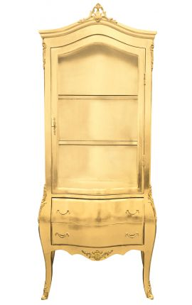Baroque display cabinet gold leaf with gold bronzes