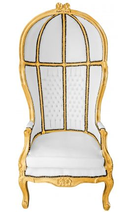 Grand porter's Baroque style chair white false skin leather and gold wood