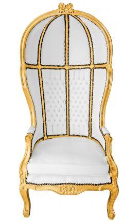 Grand fauteuil carrosse de style Baroque tissu simili cuir blanc et bois doré