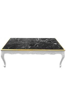 Grande table basse de style baroque bois laqué blanc et marbre noir
