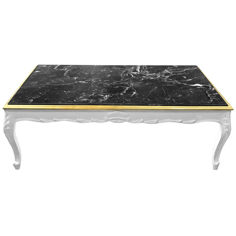 Grande table basse de style baroque bois laqu blanc et for Table basse noir laque