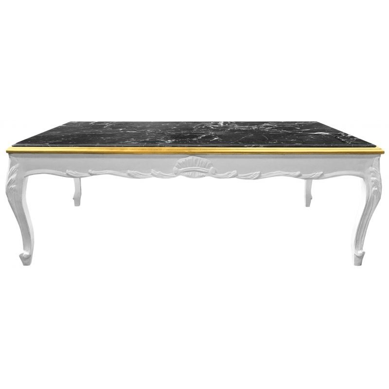 Large Coffee Table Baroque Style White Glossy Wood And Black Marble