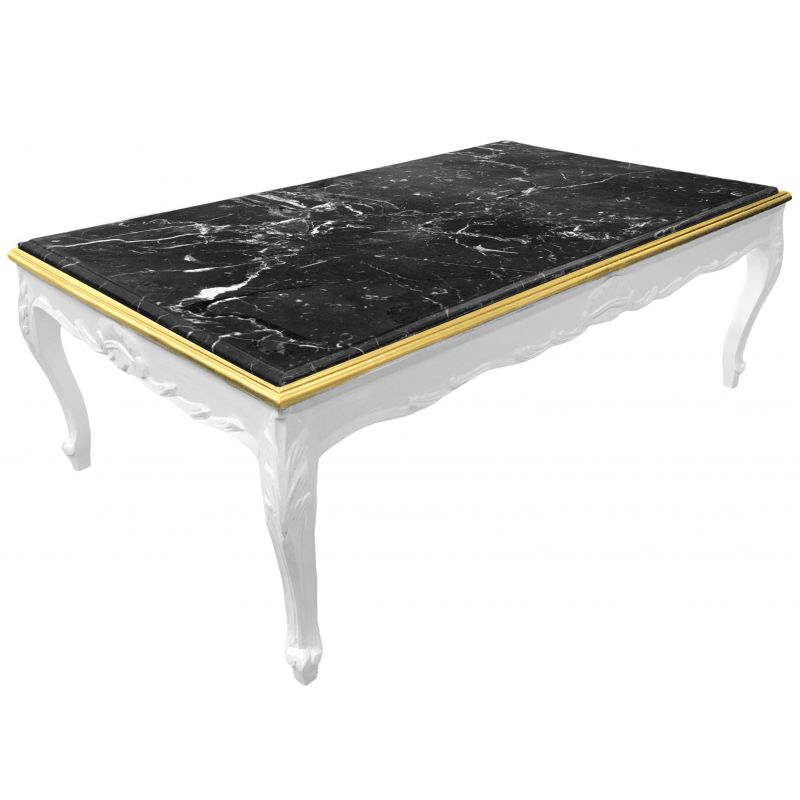 grande table basse de style baroque bois laqu blanc et marbre noir. Black Bedroom Furniture Sets. Home Design Ideas