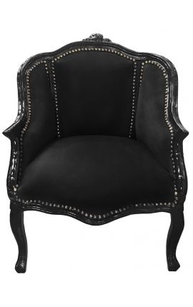 Bergere armchair Louis XV style with black velvet and black wood