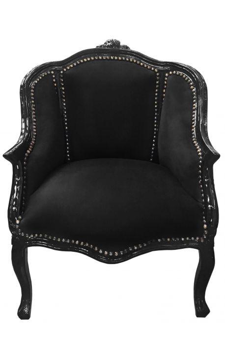 Барокко кресло Bergere Louis XV с черным бархатом и черным деревом