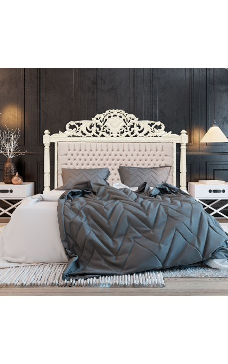 t te de lit baroque en velours beige et bois laqu beige. Black Bedroom Furniture Sets. Home Design Ideas