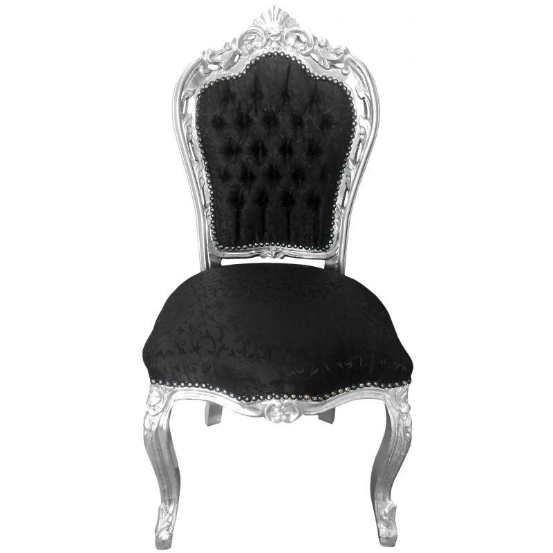 Chaise de style baroque rococo tissu satin noir et bois - Chaise baroque noir ...