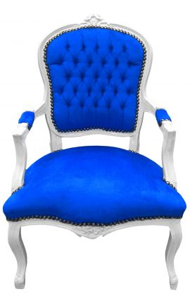 Baroque armchair of Louis XV style blue velvet fabric and white wood
