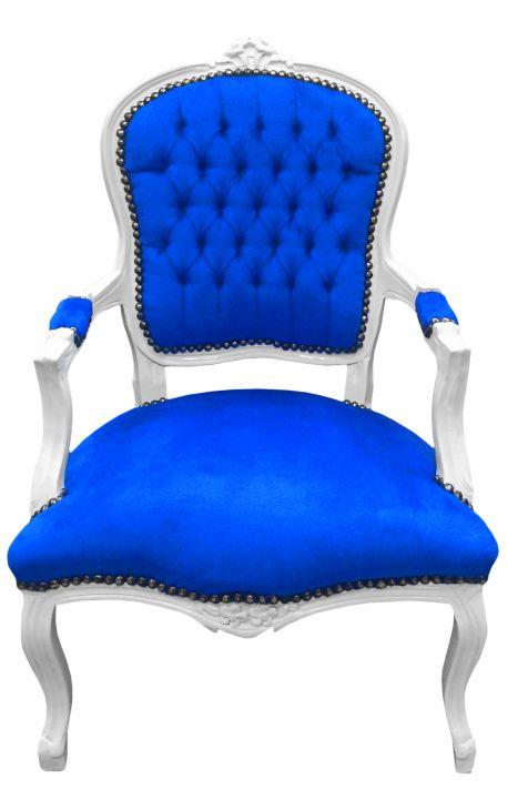 Fauteuil baroque de style Louis XV velours bleu et bois blanc
