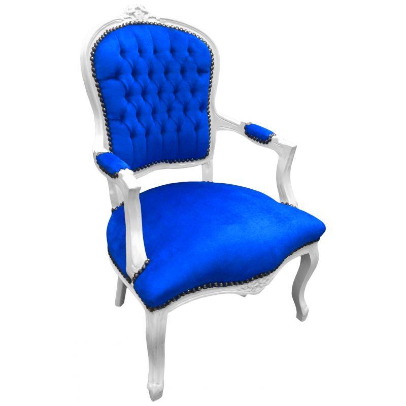 Fauteuil baroque de style louis xv velours bleu et bois blanc for Fauteuil bois blanc