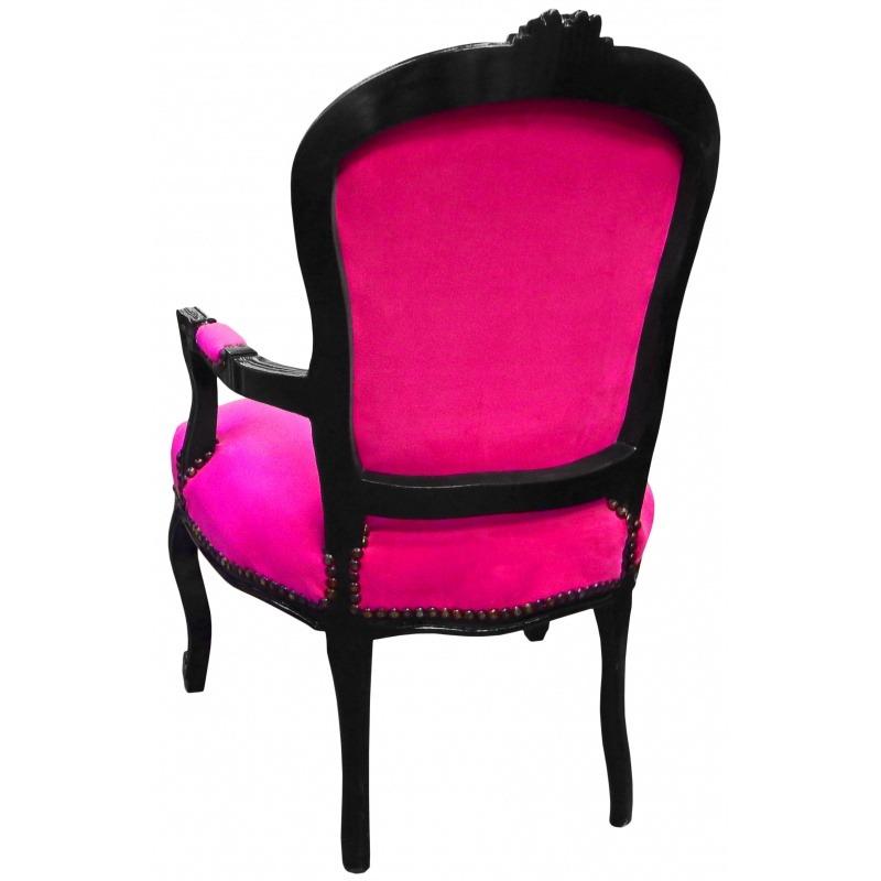 fauteuil baroque de style louis xv velours fuchsia et bois noir. Black Bedroom Furniture Sets. Home Design Ideas