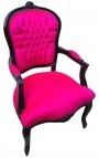 Baroque armchair of Louis XV style fushia velvet fabric and black lacquered wood