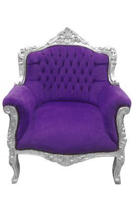 стиль «Княжеские» кресло барокко розовато-лиловый бархат и серебро д