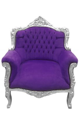 "Armchair ""princely"" Baroque style purple velvet and silver wood"