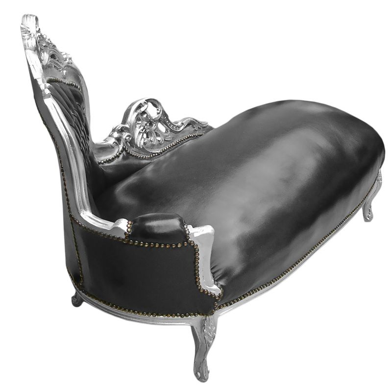 large baroque chaise longue black leatherette and silver wood. Black Bedroom Furniture Sets. Home Design Ideas