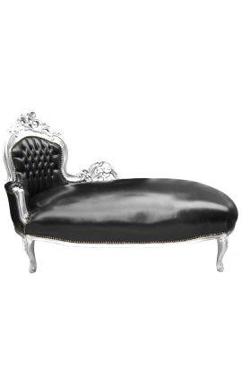 Grande méridienne baroque tissu simili cuir noir et bois argent