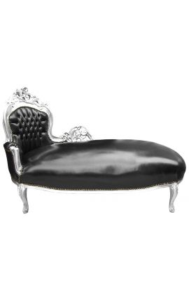 Large baroque chaise longue black leatherette and silver wood