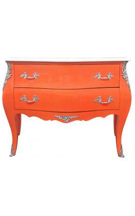 Commode baroque de style Louis XV orange et plateau blanc avec 2 tiroirs