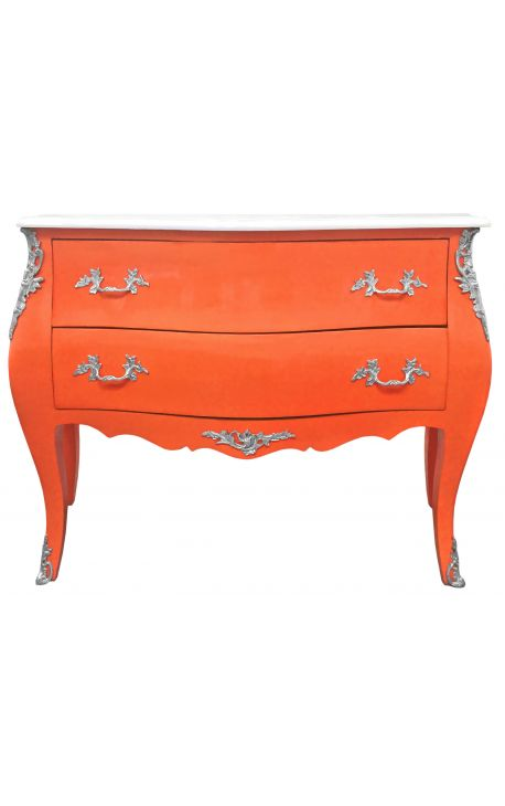 baroque chest of drawers commode of style louis xv orange and white top with 2 drawers. Black Bedroom Furniture Sets. Home Design Ideas