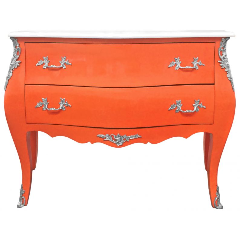commode baroque de style louis xv orange et plateau blanc avec 2 tiroirs. Black Bedroom Furniture Sets. Home Design Ideas