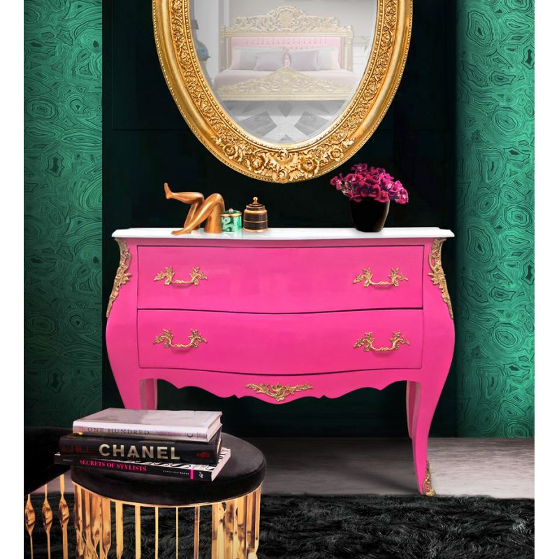 commode baroque de style louis xv rose et plateau blanc. Black Bedroom Furniture Sets. Home Design Ideas