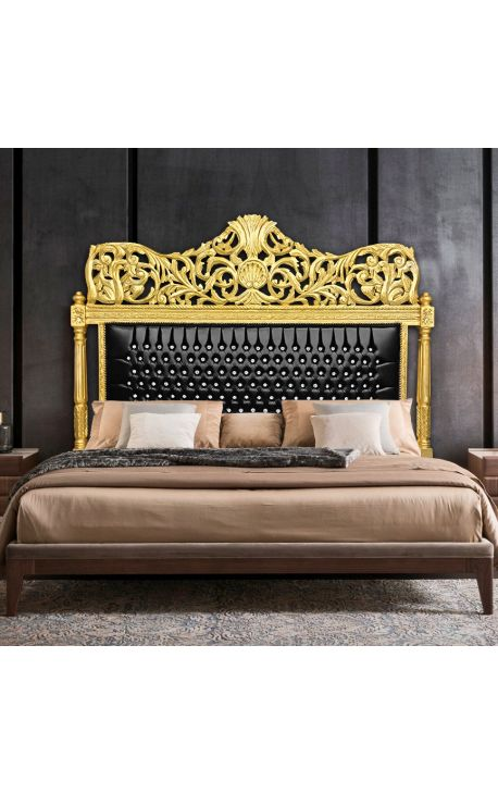 Baroque bed headboard black leatherette with rhinestones and gold wood
