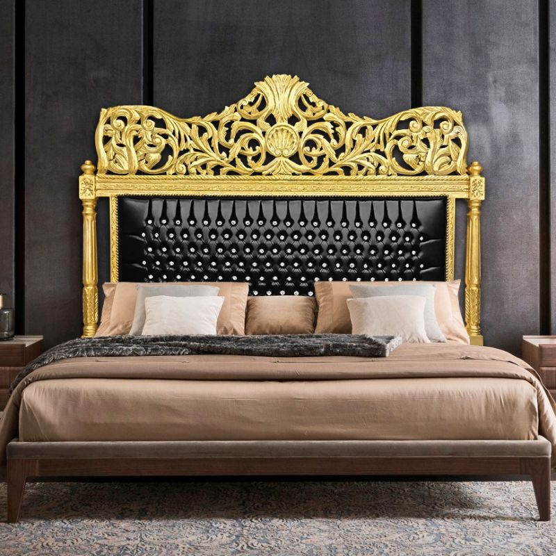 t te de lit baroque en simili cuir noir avec strass et bois dor. Black Bedroom Furniture Sets. Home Design Ideas