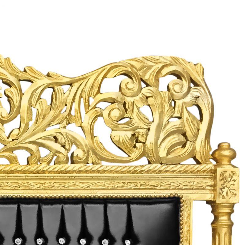 t te de lit baroque en simili cuir noir avec strass et bois dor. Black Bedroom Furniture Sets. Home Design Ideas