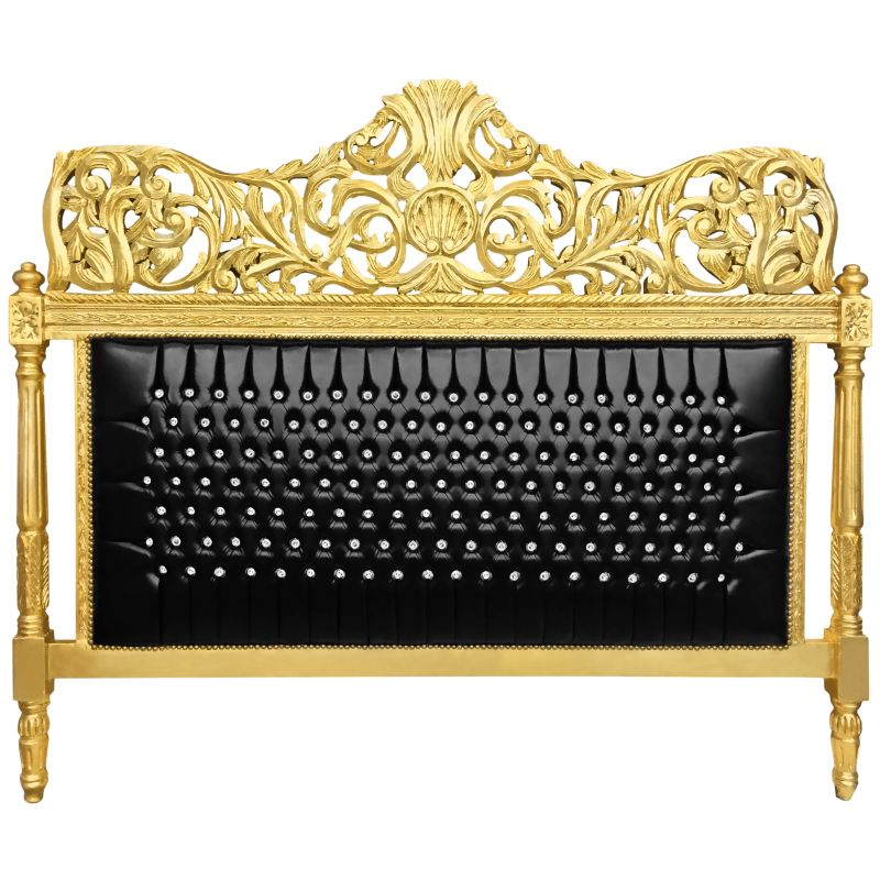 Baroque Bed Headboard Black Leatherette With Rhinestones