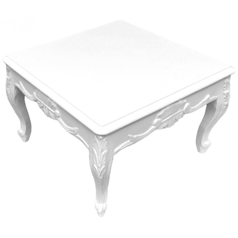 Table Basse Carree De Style Baroque Bois Laque Blanc