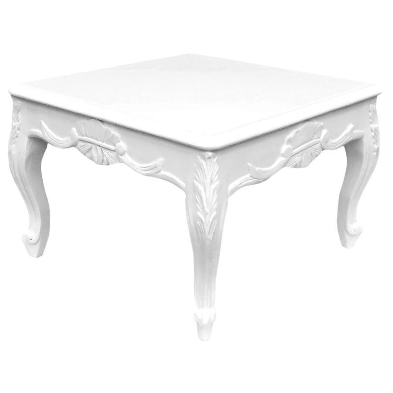 Basse Carrée Style Table Baroque Bois Blanc De Laqué ymN8nw0vO