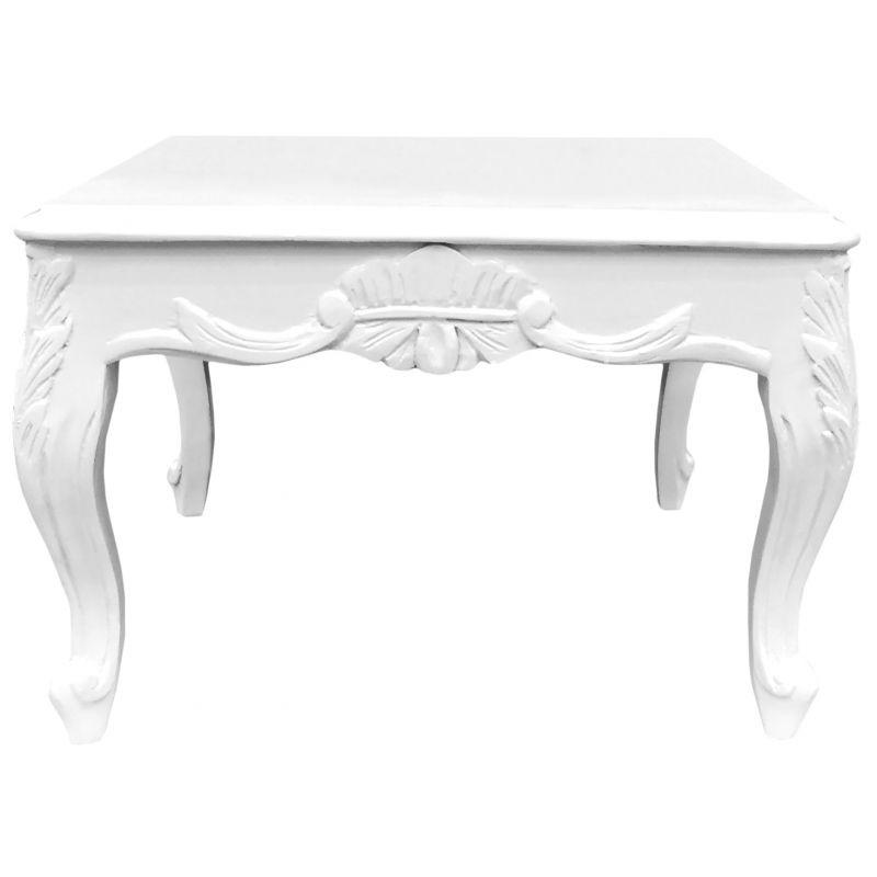 Laqué Basse De Table Baroque Blanc Style Bois Carrée rCstQdh