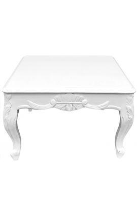 Table basse carrée de style baroque bois laqué blanc