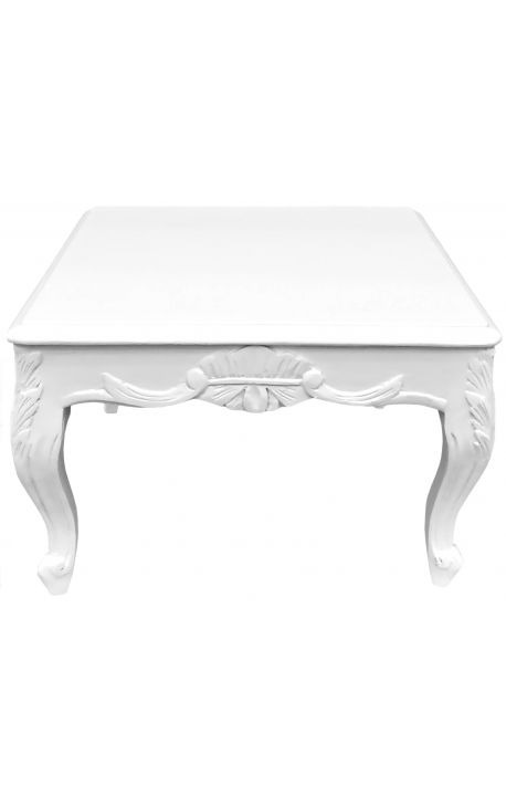 Square Coffee Table Baroque White Glossy Paint