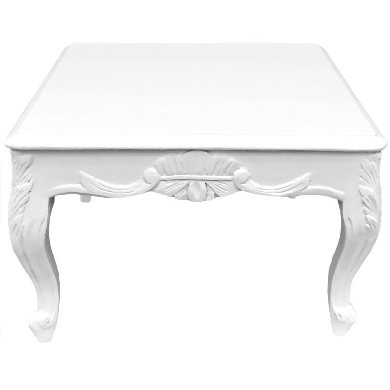 Royal Art Palace International Table Basse Carrée De Style Baroque Bois Laqué Blanc