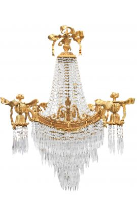 Large chandelier Louis XVI style with 4 sconces