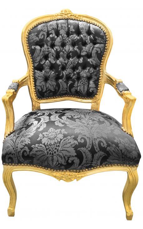 """Fauteuil Louis XV de style baroque tissu satiné noir aux motifs """"Gobelins"""" et bois doré"""