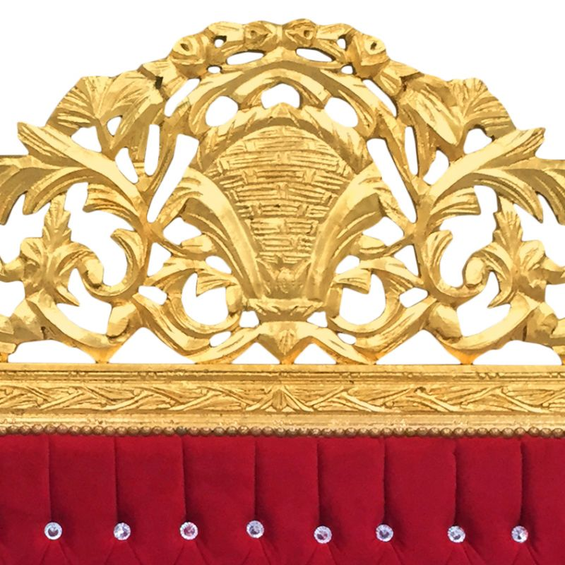 Baroque Bed Headboard Burgundy Fabric And Gold Wood