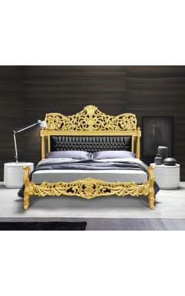 Baroque bed faux leather black with rhinestones and gold wood