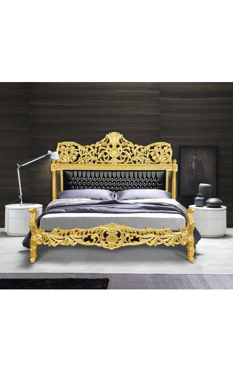 Барокко кровать искусственного кожи черного стразами и золотой дерева