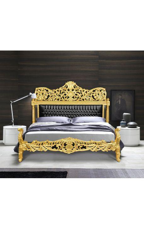Lit Baroque en simili cuir noir avec strass et en bois doré