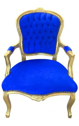Baroque armchair of Louis XV style dark blue velvet and gold wood