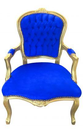 Fauteuil Louis XV de style baroque velours bleu et bois doré
