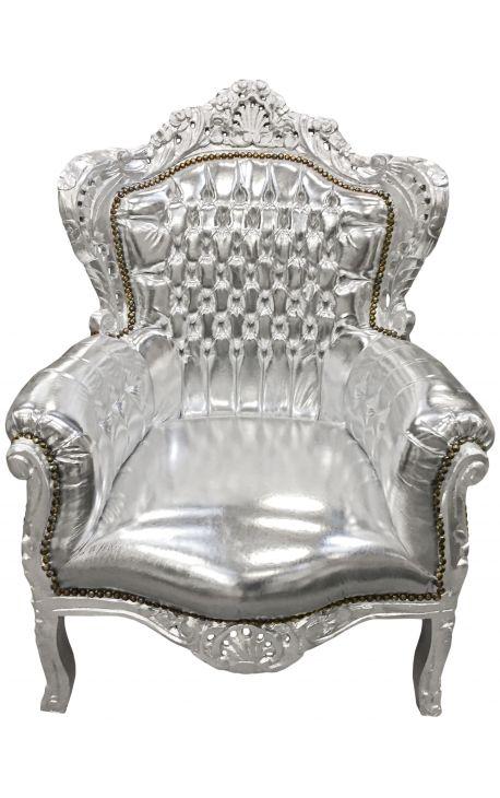 Grand fauteuil de style baroque tissu simili cuir argent et bois argent