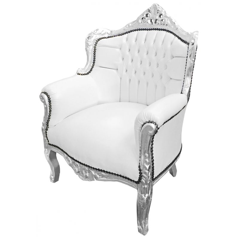 fauteuil princier de style baroque simili cuir blanc et bois argent. Black Bedroom Furniture Sets. Home Design Ideas