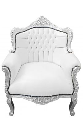 "Armchair ""princely"" Baroque style faux leather white and silver wood"