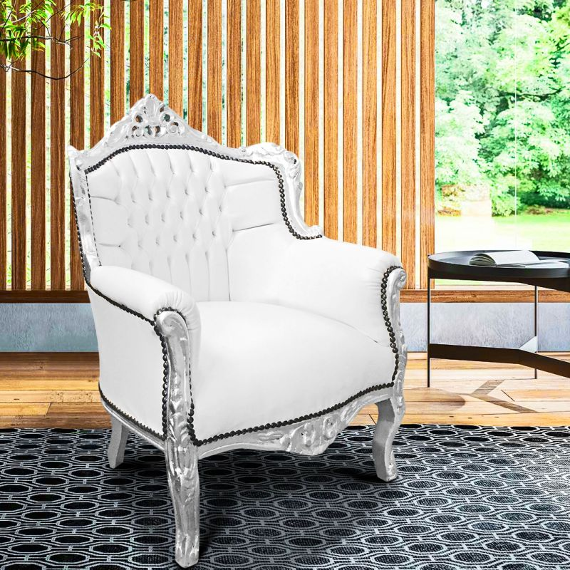 fauteuil princier de style baroque simili cuir blanc et. Black Bedroom Furniture Sets. Home Design Ideas
