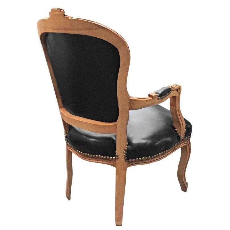 Fauteuil de style louis xv simili cuir noir et bois naturel - Fauteuil de table simili cuir ...