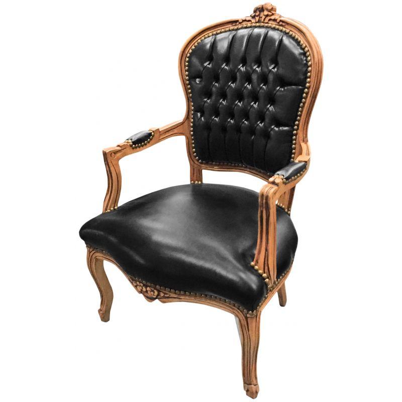 fauteuil de style louis xv simili cuir noir et bois naturel. Black Bedroom Furniture Sets. Home Design Ideas