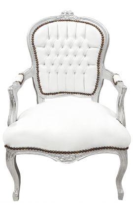 Fauteuil Louis XV de style baroque simili cuir blanc et bois argent